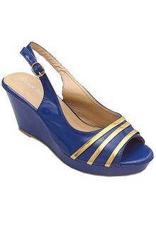 Luck Bella Blue Leather Ladies Wedge Sandal