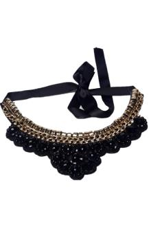 Black/Gold Studded Beaded Ladies Neck Bib