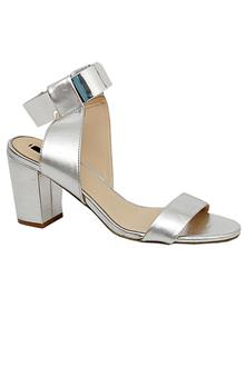 Zara Silver Leather  Ladies Heel Shoe