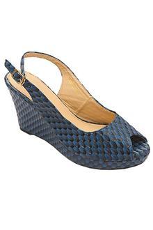 Bandolino Blue Leather Ladies Wedge Sandal