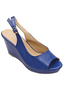 Luck Bella Patent Blue Leather Ladies Wedge Sandal