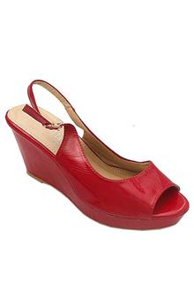Luck Bella Red Leather Ladies Wedge Sandal