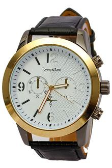 Tommy & Hands Black Leather White Face Men Watch