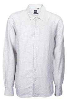 BLUE Light Gray Long sleeve Botton Mens Shirt
