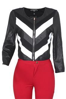 Cool Cat Black White Ladies Leather Jacket