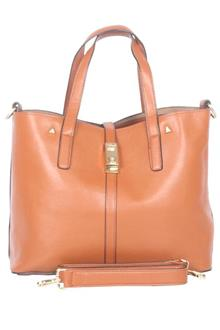 David Jones Brown Leather Bag wt Removable/Attachable Inner