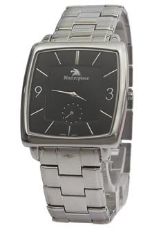 Masterpiece Silver Black Face Stainless Steel Mens Watch