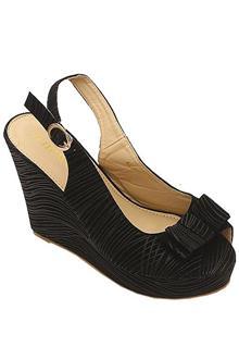 Jiowin Black Leather Ladies Wedge Sandal