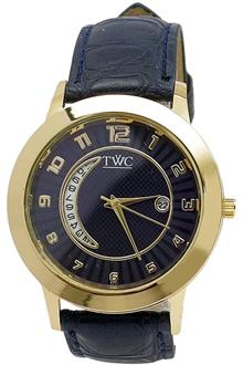 TWC Navy Blue Leather Gold Case Mens Watch