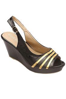 Luck Bella Black Leather Ladies Wedge Sandal