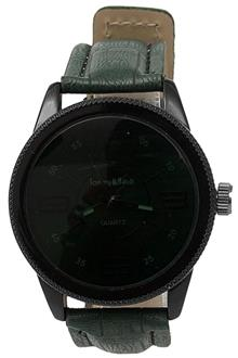 Tommy & Hands Army Green Leather Dark Face Men's Watch