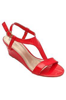 Nine Weet Red Leather Ladies Wedge Sandal