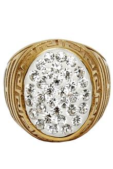 Gold Studded Men Bishop Ring -Sz 8