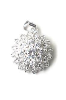 Silver Flower Studded Pendant