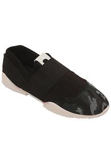 Deal Black Green Cotton Men Sneakers