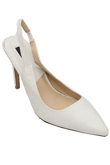 Zara White Leather Ladies Heel Shoe
