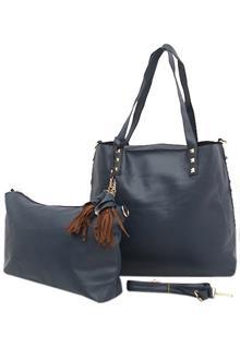 Fashion Blue Leather Ladies Handbag Wt Purse