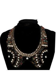 Black/Brown Neck Bib Wt Colored Beads