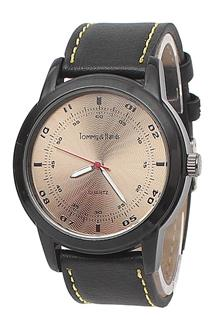 Tommy & Hands Black Leather Brown-Face Mens Watch