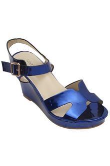 Nine West Blue Leather Ladies Wedge Sandals  (4.5In Heel)