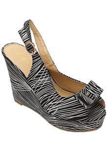 Jiowin Black-Silver Leather Ladies Wedge Sandal