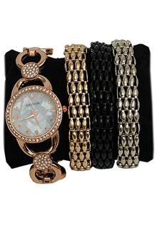 Coliseum Rose Gold Steel Studded Face Ladies Watch & Bracelet Gift
