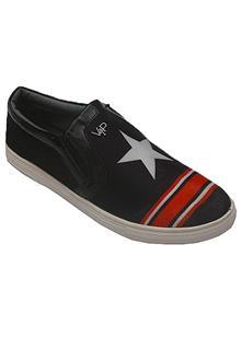 Deal Vip Black Red Leather Men Sneaker