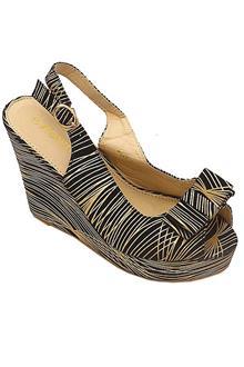 Jiowin Black-Gold Leather Ladies Wedge Sandal