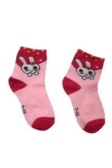 Pink Mix Kids Socks Wt Yellow Polka Dots