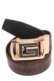 Gucci Gold Brown Leather Mens Belt L46 Inch