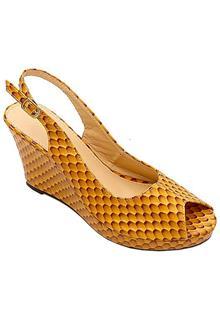 Bandolino Brown Leather Ladies Wedge Sandal