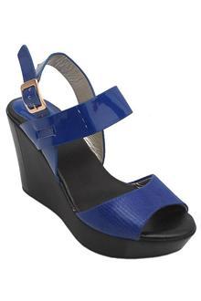 Guess Black Blue Leather Ladies Wedge Sandals  (4.5In Heel)