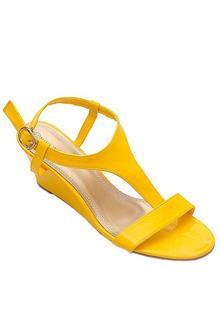 Nine Weet Yellow Leather Ladies Wedge Sandal