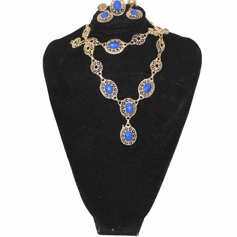 Fashion Blue/Gold Jewelry Set Without Ring