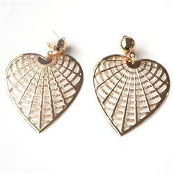 Gold Big Heart Shape Drop Fashion Earrings