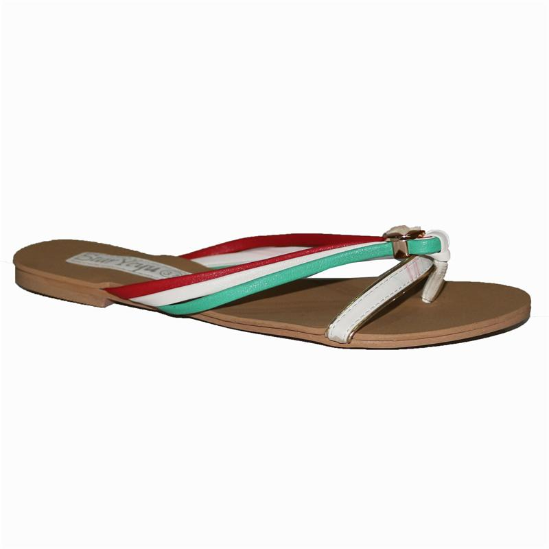 Star White/Green/Red Leather Ladies Flat Slippers