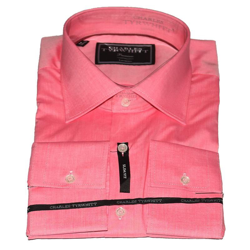 Charles Tyrwhitt Plain Peach Cotton Men's Premium Shirt