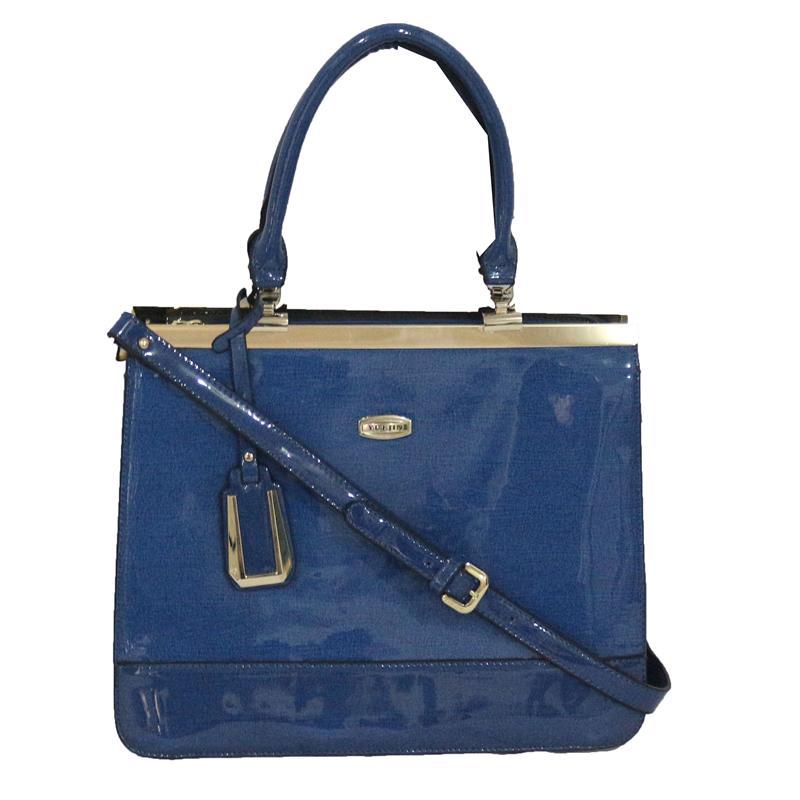 Yuejin Blue Patent Leather Ladies Fashion Handbag wt Gold Trim