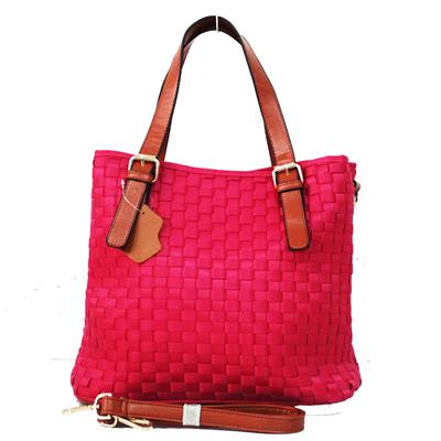 Pink/Brown Interwoven Fabric/Leather Ladies' Handbag
