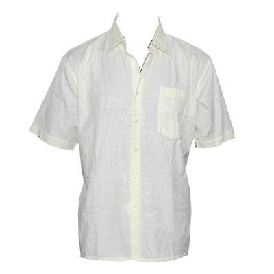 Huasen Cream Cotton Men's Shortsleeve Shirt Wt Stain