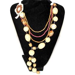 Fashion Brown/Yellow/Purple Mix Ladies Beaded Necklace