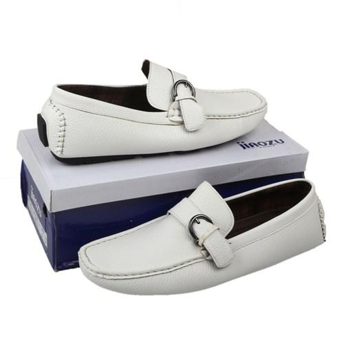 Jiaozu White Leather Men's Loafers