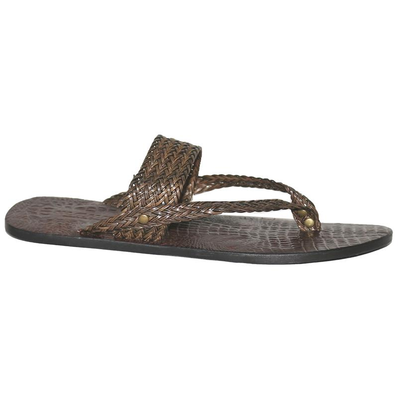 Mauri Brown Leather Men's Pam Slippers