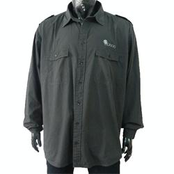 Jeaxxs Gray Double Pocket Men' Long Sleeve Shirt