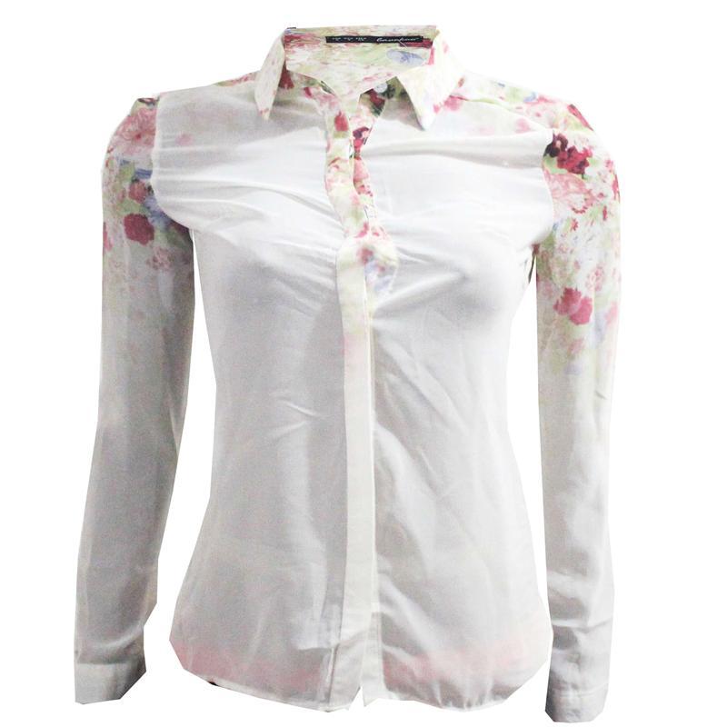 L & K Cream/Multicolor Ladies L/Sleeve Chiffon Top
