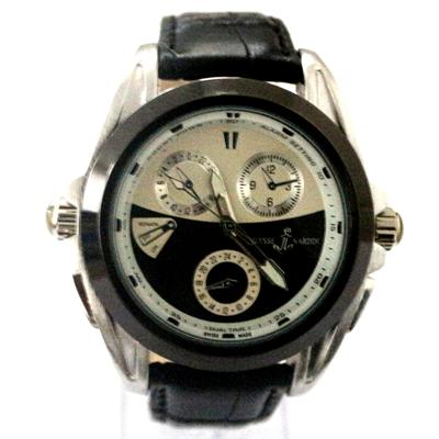 Ulysse Nardin Black Leather Silver Men's Watch