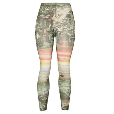Pingfa Green/Orange Printed Cotton Ladies Leggings