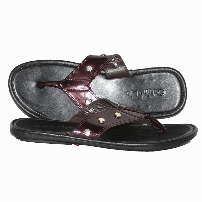 Calvin Klein Wine Patent Leather Men's Slippers