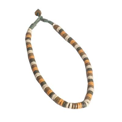 Army Green/Yellow/White Beads Men's Necklace