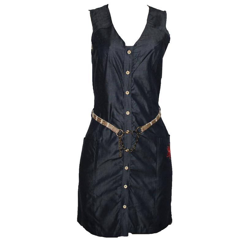 Berjer Blue-Black Embroiled  Armless Dress
